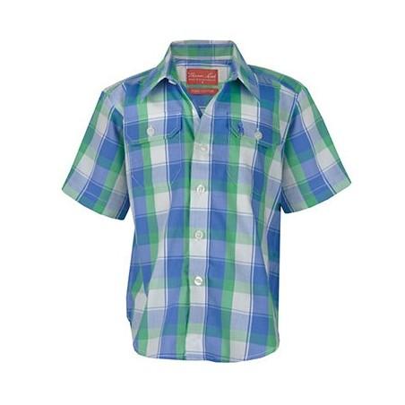 """""""Thomas Cook"""" Boys Nathan Check 2 pocket Short Sleeve Shirt - Green/Blue"""