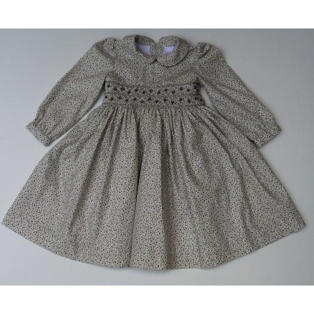 """""""Meleze"""" Hand Smocked Brown Floral Paralel Jasmine Dress"""