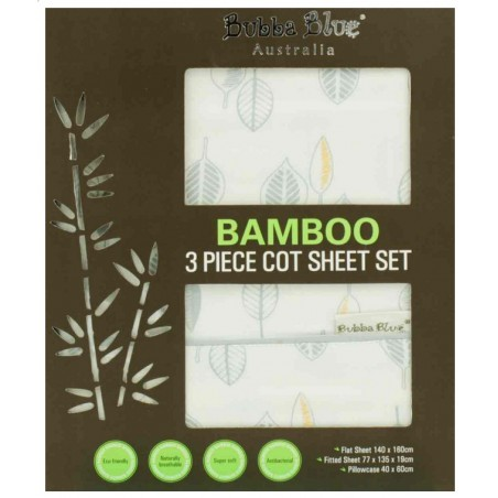 Bubba Blue - Bamboo Leaf - 3 Pce Cot Sheet Set