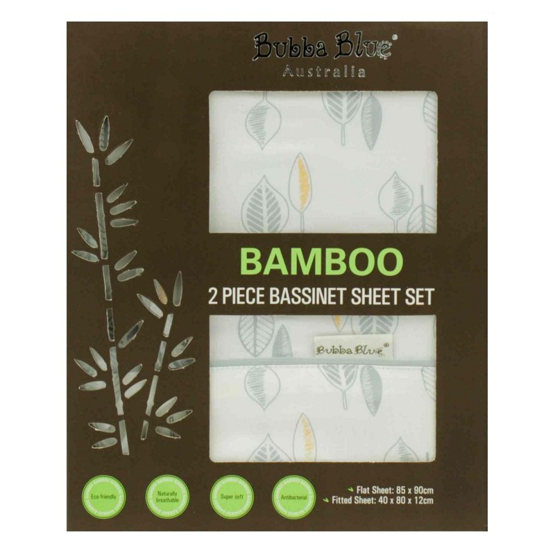 Bubba Blue - Bamboo Leaf - 2 Pce Bassinet Sheet Set