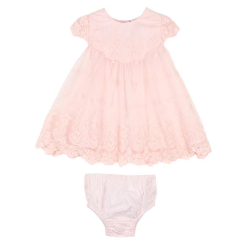 Bebe - Special Occasions Short Sleeve Lace Yoke Dress - Blush