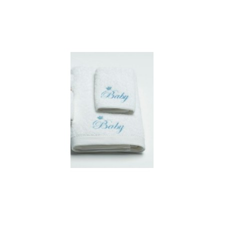 Pilbeam Textiles - Blue Baby Embroidered Towel & Washer Pack in Organza Bag