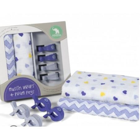 2 Pack Wraps & 4 Pram Pegs – Hearts & Chevron Purple