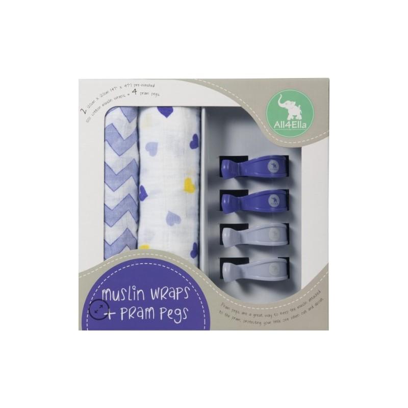 All 4 Ella - 2 Pack Wraps & 4 Pram Pegs – Hearts & Chevron Purple