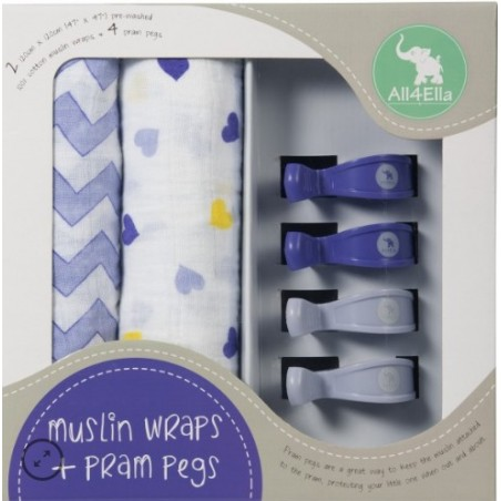 All 4 Ella - 2 Pack Wraps & 4 Pram Pegs – Hearts & Chevron Purple
