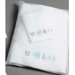 Pilbeam Textiles - Aqua Baby Jungle Towel & Face Washer Set in Organza Bag