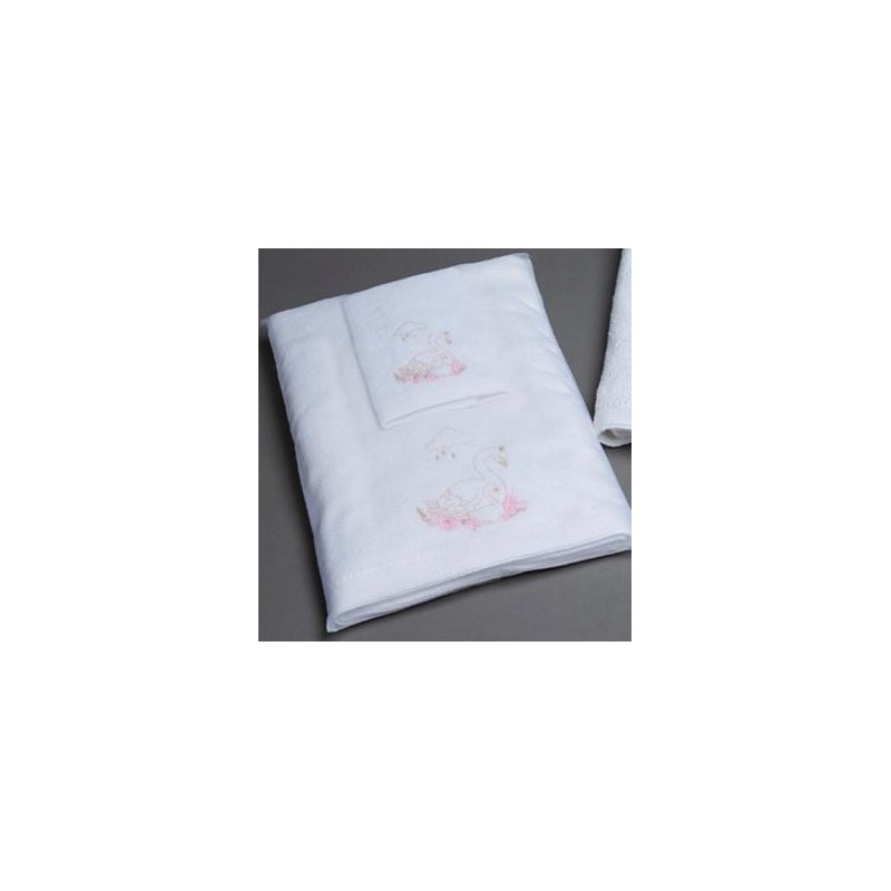 Pilbeam Textiles - Baby Swans Towel & Face Washer Set in Organza Bag