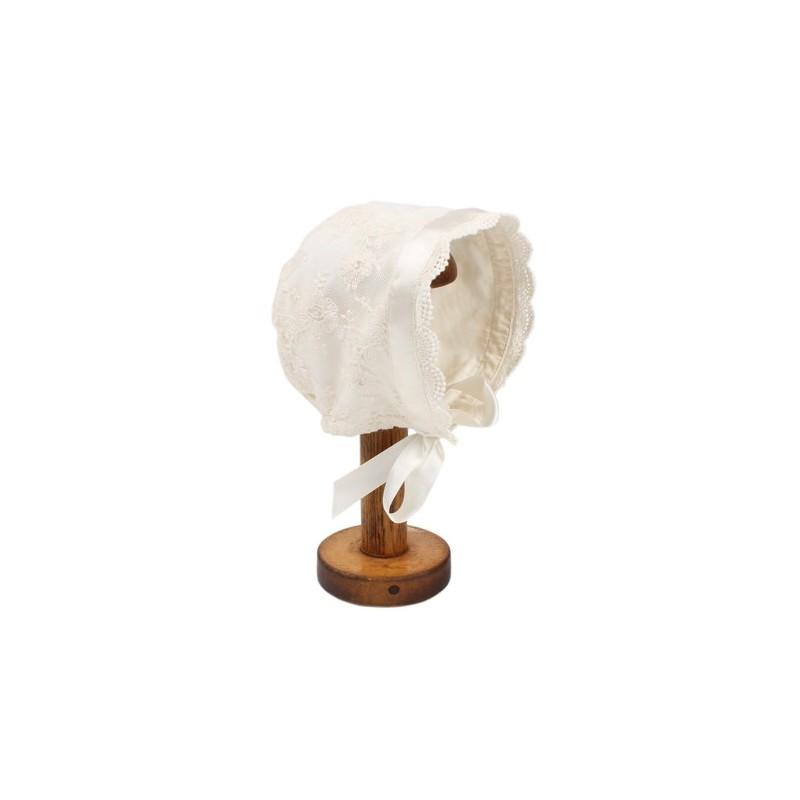 Bebe - Special Occasion Tie Up Lace Bonnet - Rich Cream