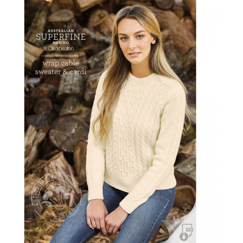 Australian Superfine Merino by Cleckheaton - Wrap Cable Sweater & Cardi