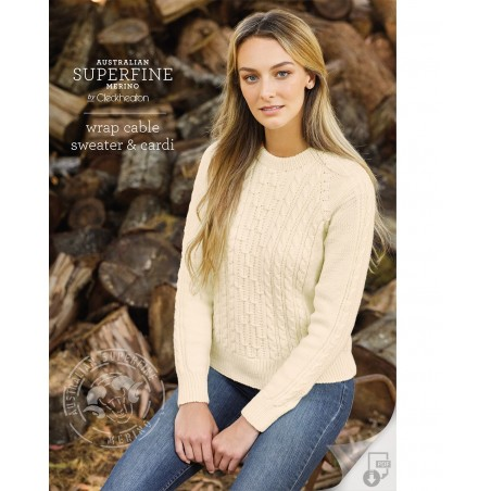 Australian Superfine Merino by Cleckheaton - Wrap Cable Sweater & Cardi