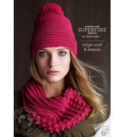 Australian Superfine Merino by Cleckheaton - Crocheted Ridge Cowl & Beanie