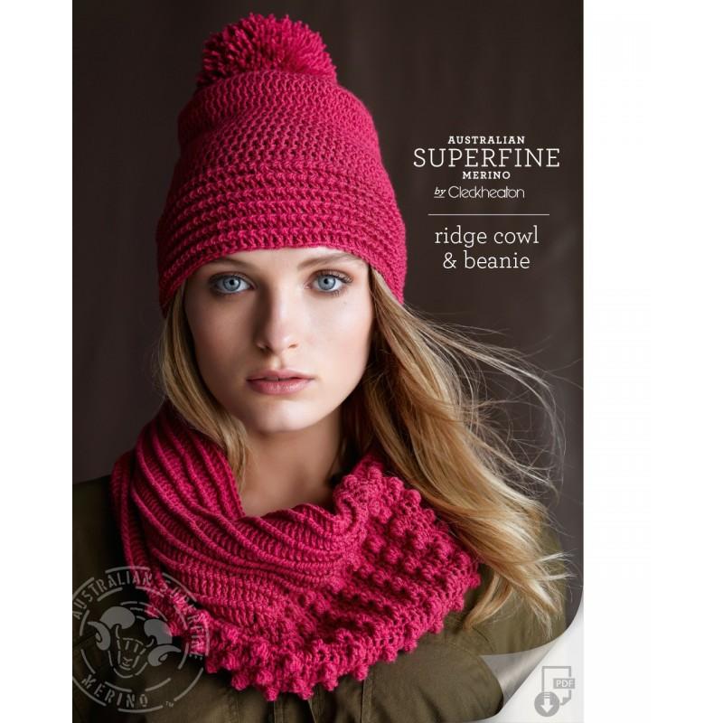 Australian Superfine Merino by Cleckheaton - Crocheted Ridge Cowl & Beanie