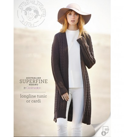 Australian Superfine Merino by Cleckheaton - Knitted Longline Tunic or Cardi
