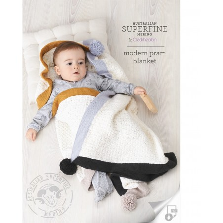 Australian Superfine Merino by Cleckheaton - Knitted Modern Pram Blanket