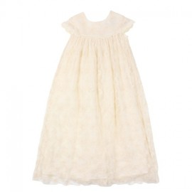 Bebe - Special Occasions Short Sleeve Lace Long Christening Gown - Rich Cream