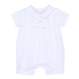 Bebe - Special Occasions Boys Woven Romper with Tucks - White