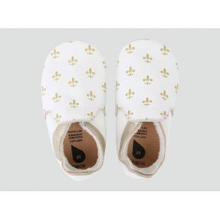 Bobux - Softsole Fleur De Lis White/Gold