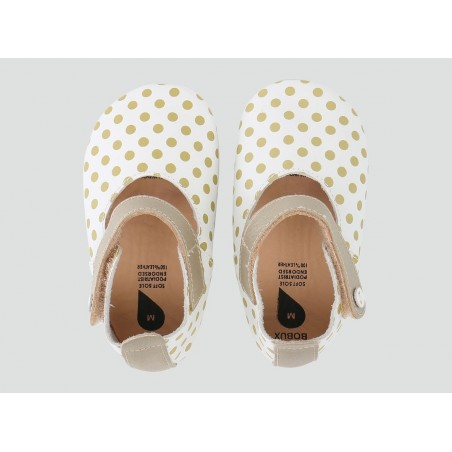 Bobux - Softsole White Mary Jane with Gold Spots