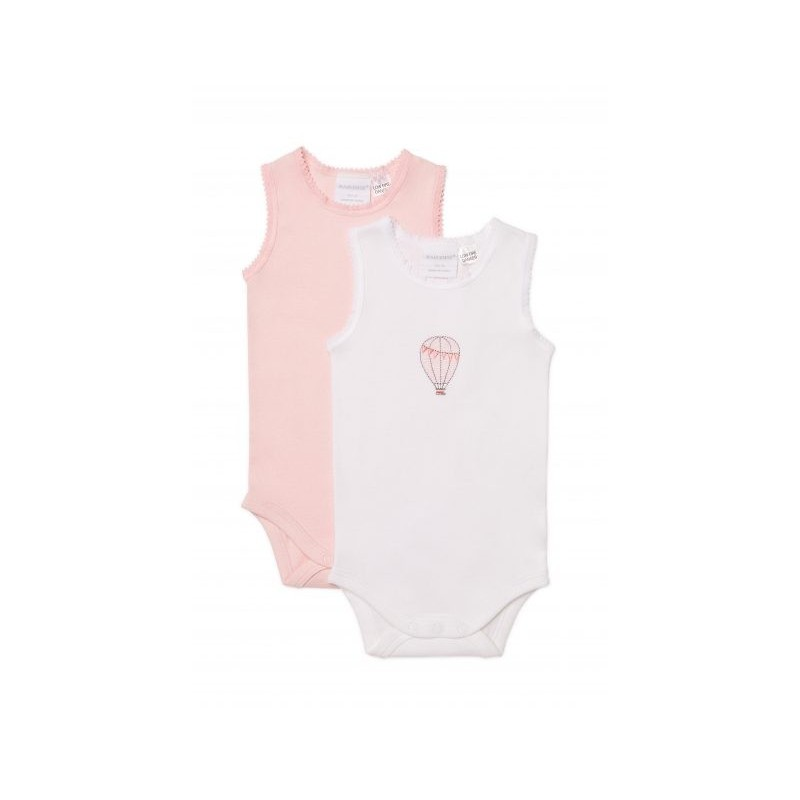 Marquise - 2 Pack Bodysinglet Hot Air Balloon White/Pink