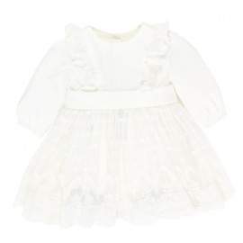 Bebe - Special Occasion Long Sleeve Satin Layered Dress with Bow - Ivory