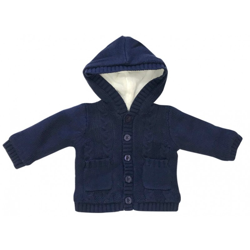 Beanstork Navy lined Cable Cardigan