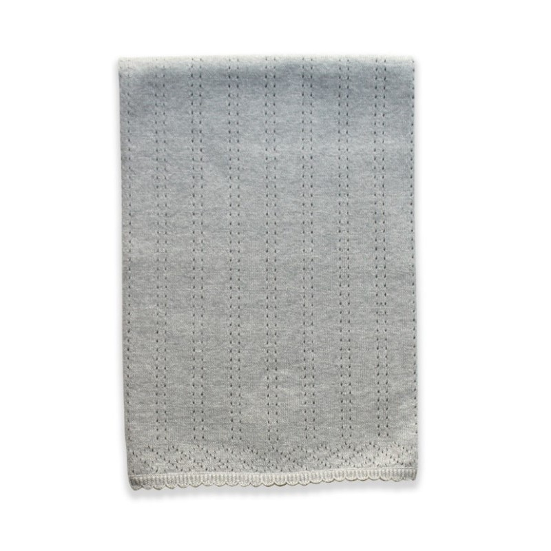 Beanstork 100% Cotton Pointelle Blanket - Grey Marle