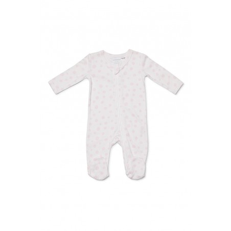 Marquise - Girls Pink Spot Zip Suit with Feet