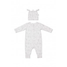 Marquise - Newborn Essentials Footless Growsuit and Beanie Set - Grey Print