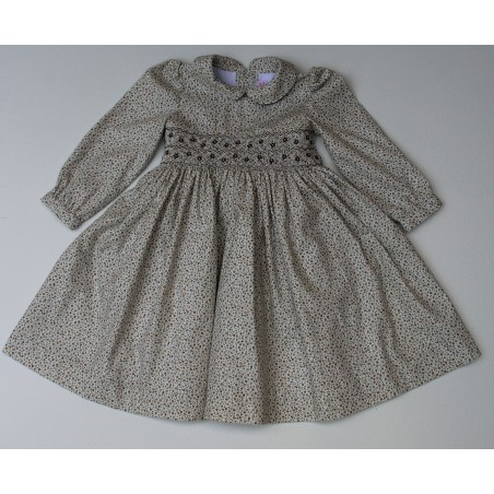 """Meleze"" Hand Smocked Brown Floral Paralel Jasmine Dress"
