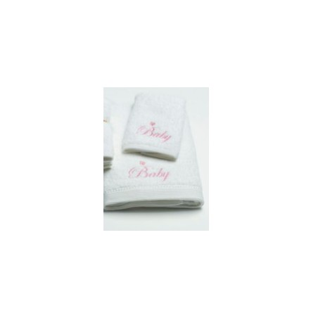Pilbeam Textiles - Pink Baby Embroidered Towel & Washer Pack in Organza Bag