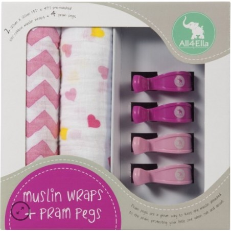 All 4 Ella - 2 Pack Wraps & 4 Pram Pegs – Hearts & Chevron Pink