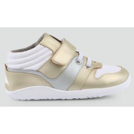 Bobux - I Walk Kid+ - Gold/Silver/White Uni Hi Top - Bass Gold