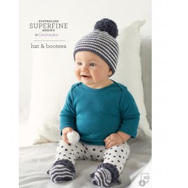 Australian Superfine Merino by Cleckheaton - Knitted Hat & Bootees
