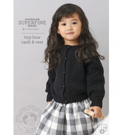 Australian Superfine Merino by Cleckheaton - Knitted Tiny Bow Cardi & Vest