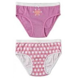 Marquise - 2 Pack Girls Underwear Hearts Lilac/Print