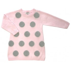 Beanstork Fluffy Spot Dress - Pink/Grey Spots