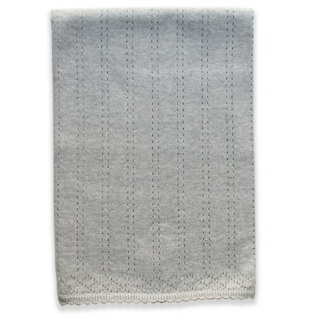 Beanstork 100% Cotton Pointelle Blanket - Grey Marle