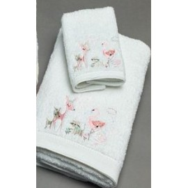 Deer Party Embroidered Bath Towel & Face Washer in Organza Bag
