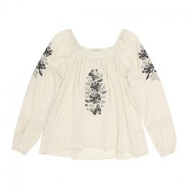 Tahlia - Chicago Woven Top with Embroidery - Oat