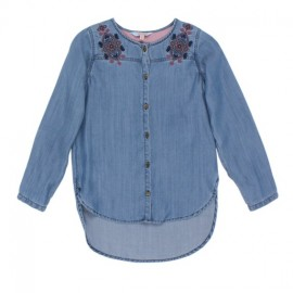 Tahlia - Seattle Denim Shirt with Embroidery - Chambray