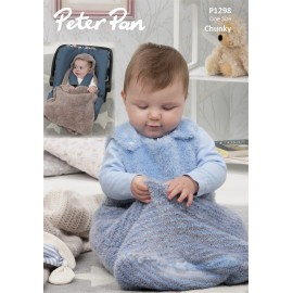 Peter Pan Precious Chunky - Pattern P1298 Snuggle Bag and Car Seat Blanket