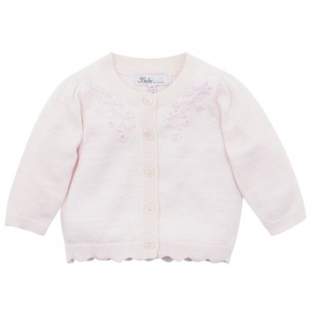 Bebe - Long Sleeve Scalloped Edge Cardigan - Petal Pink