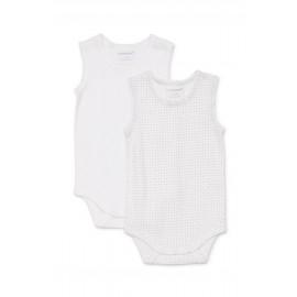 Marquise - Unisex Spotty 2 Pack Bodysinglets - White/Grey
