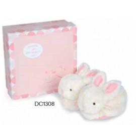Doudou et Compagnie Paris - Lapin Bonbon - Gift Box Pink Booties with Rattles