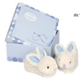 Doudou et Compagnie Paris - Lapin Bonbon - Gift Box Blue Booties with Rattles