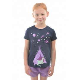 Thomas Cook Clothing - Girls Glow in the Dark Horse Pyjamas - Dark Navy/Purple