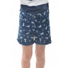 Thomas Cook Clothing - Girls Horse Print Denim Shorts - Dark Blue Denim
