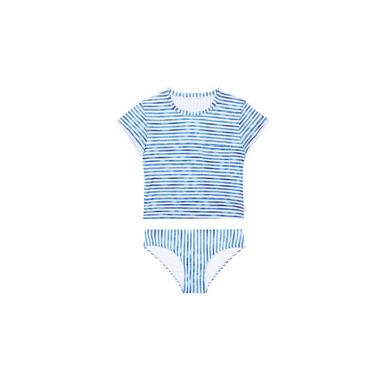Seafolly - Tropical Vibes - Short Sleeve Surf Set White/Blue