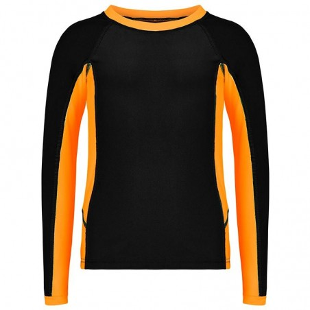 Aqua Blu Australia - Building Blocks Long Sleeve Rash Vest - Orange/Black