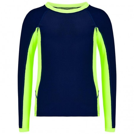 Aqua Blu Australia -Building Blocks Long Sleeve Rash Vest - Lime/Navy